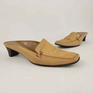 Franco Sarto Leather Cow Hair Slide Mule Heels